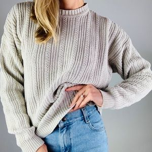 Vintage Ramie Cotton Crewneck Chunky Sweater M